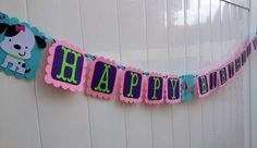 Girly Puppy Birthday Banner, Dog Party, Banner, Cupcake Topper, Door Sign, Centerpiece, Baby Shower on Etsy, $27.00