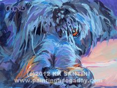 Curl, a painted pet portrait by Kimberly Kelly Santini