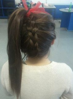 ponytail braid #cheerleading #cheerhair #cheerhairstyles