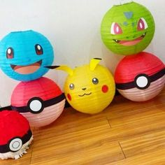 Lamparás de papel con caras de pokemon y pokebolas #decoración #pokemonparty #pokebolas #pikachu #piñapiñatas #bogota