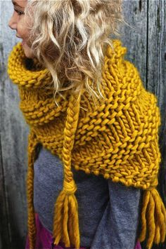 Giant knitted scarf inspiration cowl / infinity scarf , knit or crochet