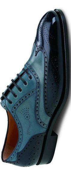 Salvatore Ferragamo turquoise/black brogues. #shoeporn