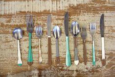 hand paint, painted silverware, antiqu silverwar, paint colors, paint antiqu