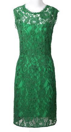 Green Sleeveless Hollow Bow Silk Dress