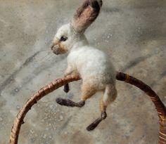 by Sara Renzulli. art felt, oatmeal, felt rabbit, felt bunni, baskets, needl felt, fiber art, basket bunni, felt animals