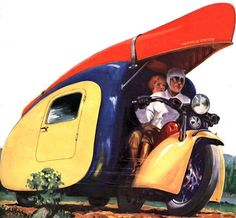Plan from a 1930s Popular Science magazine article for a motorcycle camper trailer by an unnamed German inventor.