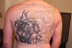 Great Volkswagen VR6 engine back tattoo