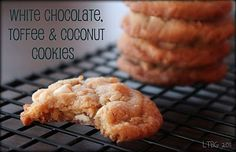 White chocolate toffee coconut cookies