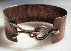 jewelry making, copper cuff, bracelets, rustic copper, copper jewelry, jewelri inspir, cuffs, copper bracelet, clasp idea
