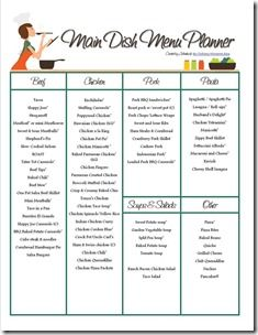 main dish menu planner and monthly meal planner