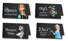 Frozen birthday custom tent food label set - Disney's Frozen - Disney Princess - Princess Anna - Girl Chalkboard Card - Printable