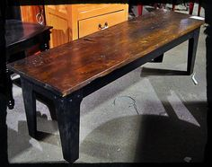 Wood top with a metal base, industrial modern at it's best.    $263