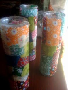 Decorate dollar store candles with fabric scraps and Mod Podge