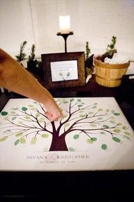 Housewarming party tree idea.  Have every guest put a thumb print near a branch and initial.