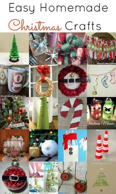 Easy Homemade Christmas Crafts. Last minute ideas for decking your halls for the holidays! #Christmas #crafts #diy