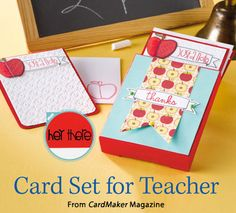 Card Set for Teacher from the Autumn 2014 issue of CardMaker Magazine. Order a digital copy here: http://www.anniescatalog.com/detail.html?code=AM5254