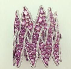 Lorraine Schwartz Pink Sapphires and Diamond Zig Zag Statement Cuff