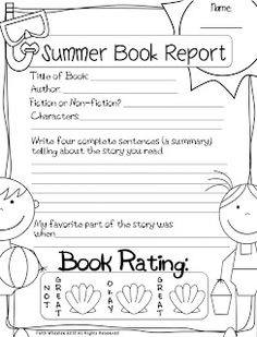 Summer Book Reports (5 different ones)  *Free