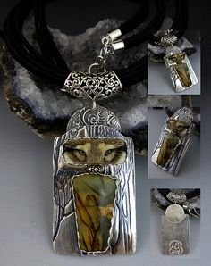 Gaurdian of the Mountains Sterling Silver wolf eyes Porcelain custom necklace SRA Laura Mears focal