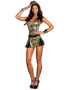 Sexy Army Costume Womens Military Uniform Costumes Camoflauge Dress Camo Print