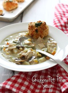 Chicken Pot Pie Soup | Skinnytaste  made tonight...  delicious & hearty.  Also, added frozen chopped spinach, corn, & carrots.  Yum!