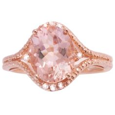 10k Rose Gold Morganite and Diamond Pave Ring Amazon Curated Collection. $268.00. Made in Canada. The natural properties and composition of mined gemstones define the unique beauty of each piece. The image may show slight differences to the actual stone in color and texture. All our diamond suppliers certify that to their best knowledge their diamonds are not conflict diamonds.