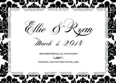 Save the Date Card - Square Damask