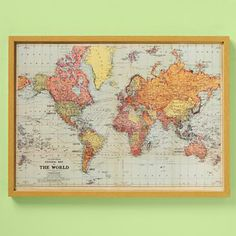 wall art map muted colors