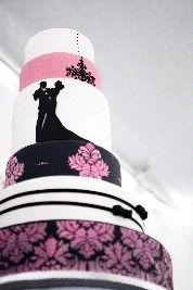 White, pink and black wedding cake, love the bride and groom silhouette