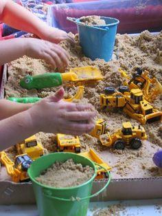 Sand and Construction Trucks Sensory Table