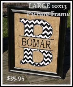 Monogrammed burlap frame with applique Letter