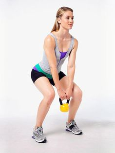 The Halo Squat kettlebell #exercise works your shoulders, arms, abs, butt, and legs.