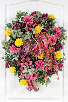Summer Wreath, Front Door Wreath, Spring Wreath, Country Wreath ...