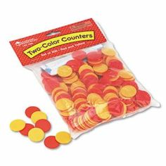 Learning Resources Two-Color Counters, Math Manipulatives, for Grades K-6, 200/Set (LRNLER7566)