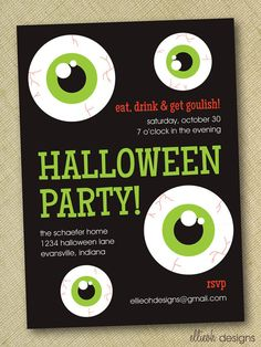 halloween invitations, parti invit, halloween parties, file diy, invit printabl