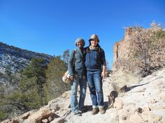 Natascha and Elea enjoying the view at Bandelier National Monument, NM