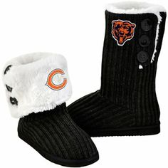 Chicago Bears Ladies Knit High End Button Boot Slippers - Black