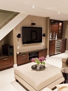 Basement Family Room And Bar, Traditional Basement, Toronto