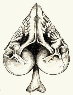 clubs skull #art #sketch #tattoo #design
