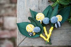Blue and yellow DIY button boutonnieres by @Evan Sharp&b photography  | Two Bright Lights :: Blog