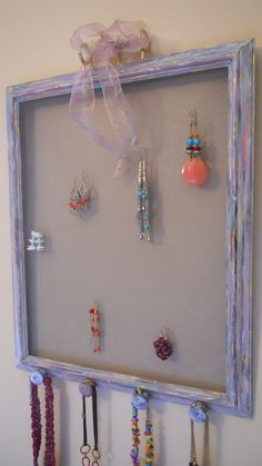 Upcycled picture frame jewelry hanger by DavidnVicki on Etsy