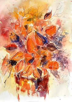 Chinese Lanterns by Pol Ledent; watercolor
