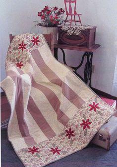 quick quilt, craft, appliqu flower, stripe