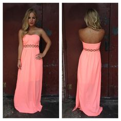 Neon Coral Strapless Maxi Dress | Dainty Hooligan Boutique