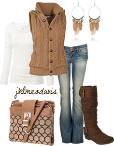 polyvore outfits fall, jean vest fall outfits, boots outfit fall, fall clothing fashion, sweater vest outfit, fall looks, winter outfits, brown boot outfits fall, polyvore fall outfits