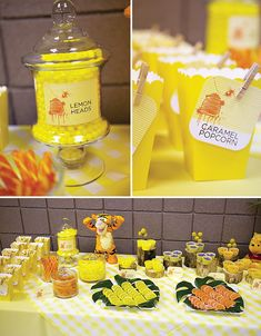 Winnie the Pooh inspired sweet table #birthday #party #candy #theme #dessert  #decoration #buffet #winnie #pooh #bear #honey #yellow #tigger #piglet #eeyore #christopherrobin #hundred #acre #wood