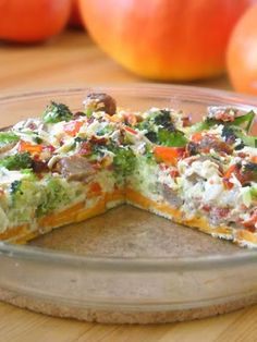Oven Omelet with Sweet Potato crust, neat idea and easy to reheat for breakfast on the go! Helpful hint, bake the sweet potato crust with a little bit of olive oil for 15-20 minutes before adding egg mixture or they won't be cooked through