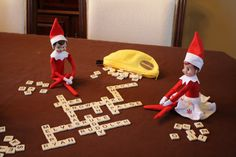 Elf plays the Banana-gram game