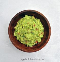 Guacamole with Roasted Tomatillos and Chipotle Peppers.  Great for Superbowl parties!