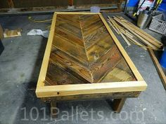Rustic Chevron Pallet Coffee Table